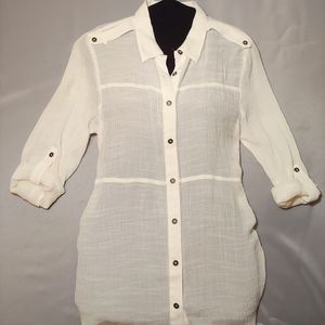 Maurices White Button Up Blouse
